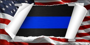Thin Blue Line Scroll Wholesale Metal Novelty License Plate