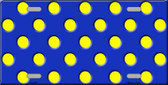 Yellow Polka Dots Royal Blue Wholesale Metal Novelty License Plate
