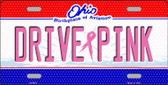 Drive Pink Ohio Novelty Wholesale Metal License Plate
