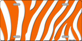 Orange White Zebra Print Wholesale Metal Novelty License Plate