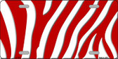 Red White Zebra Print Wholesale Metal Novelty License Plate