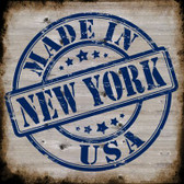 New York Stamp On Wood Wholesale Novelty Metal Square Sign