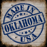 Oklahoma Stamp On Wood Wholesale Novelty Metal Square Sign