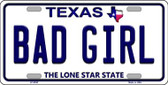 Bad Girl Texas Background Novelty Wholesale Metal License Plate