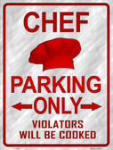Chef Parking Only Wholesale Metal Novelty Parking Sign