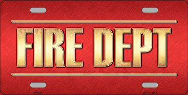 Fire Dept Novelty Wholesale Metal License Plate