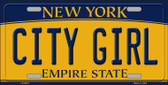 City Girl New York Background Wholesale Metal Novelty License Plate
