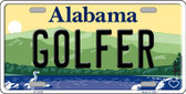 Golfer Alabama Background Wholesale Metal Novelty License Plate