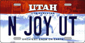 N Joy UT Utah Background Wholesale Metal Novelty License Plate