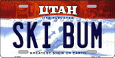 Ski Bum Utah Background Wholesale Metal Novelty License Plate