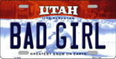 Bad Girl Utah Background Wholesale Metal Novelty License Plate