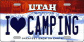 I Love Camping Utah Background Wholesale Metal Novelty License Plate
