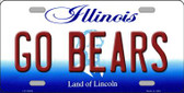Go Bears Illinois Background Wholesale Metal Novelty License Plate