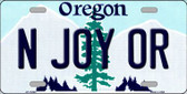 N Joy OR Oregon Background Wholesale Metal Novelty License Plate