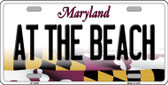 At The Beach Maryland Background Wholesale Metal Novelty License Plate