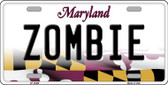Zombie Maryland Background Wholesale Metal Novelty License Plate