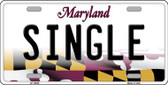 Single Maryland Background Wholesale Metal Novelty License Plate