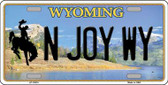 N Joy WY Wyoming Background Wholesale Metal Novelty License Plate
