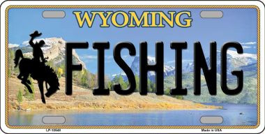 Fishing wyoming background wholesale metal novelty license for Wyoming fishing license