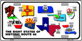 Route 66 Historic 8 Flags Wholesale Metal Novelty License Plate