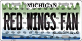 Red Wings Fan Michigan Background Novelty Wholesale Metal License Plate