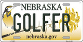Golfer Nebraska Background Wholesale Metal Novelty License Plate