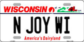 N Joy WI Wisconsin Background Wholesale Metal Novelty License Plate