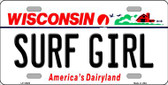 Surf Girl Wisconsin Background Wholesale Metal Novelty License Plate