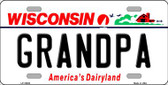 Grandpa Wisconsin Background Wholesale Metal Novelty License Plate