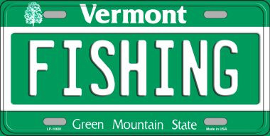 Fishing background wholesale metal novelty license plate for Vt fishing license