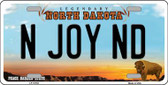N Joy ND North Dakota Background Wholesale Metal Novelty License Plate