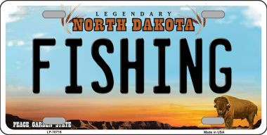 Fishing North Dakota Background Wholesale Metal Novelty
