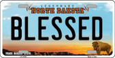 Blessed North Dakota Background Wholesale Metal Novelty License Plate