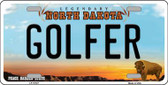Golfer North Dakota Background Wholesale Metal Novelty License Plate