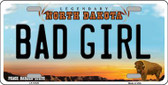 Bad Girl North Dakota Background Wholesale Metal Novelty License Plate