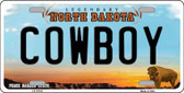 Cowboy North Dakota Background Wholesale Metal Novelty License Plate