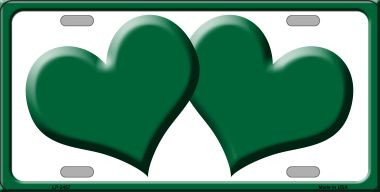 Solid Green Centered Hearts With White Background Wholesale Novelty License Plate