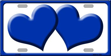 Solid Blue Centered Hearts With White Background Wholesale Novelty License Plate
