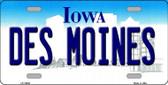 Des Moines Iowa Background Wholesale Metal Novelty License Plate