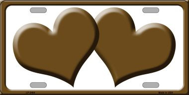 Solid Brown Centered Hearts With White Background Wholesale Novelty License Plate