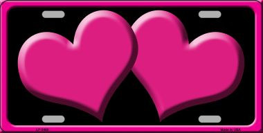 Solid Pink Centered Hearts With Black Background Wholesale Novelty License Plate