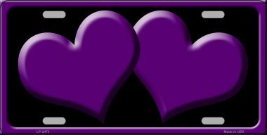 Solid Purple Centered Hearts With Black Background Wholesale Novelty License Plate LP-2473