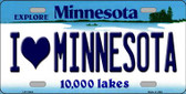 I Love Minnesota Background Wholesale Metal Novelty License Plate