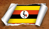 Uganda Flag Scroll Wholesale Novelty Metal Magnet