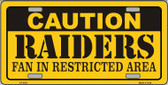 Caution Raiders Wholesale Metal Novelty License Plate