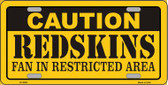 Caution Redskins Wholesale Metal Novelty License Plate LP-2528