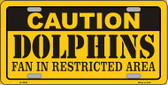 Caution Dolphins Wholesale Metal Novelty License Plate LP-2529