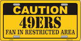 Caution 49ers Wholesale Metal Novelty License Plate LP-2534