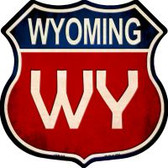 Wyoming Highway Shield Novelty Metal Magnet