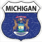 Michigan State Flag Highway Shield Novelty Metal Magnet